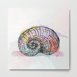 AP098 Watercolor snail shell Metal Print