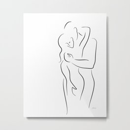 Sexy embrace line drawing for bedroom. Couple illustration. Metal Print
