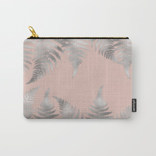 Silver fern leaves on rosegold background - abstract pattern Carry-All Pouch