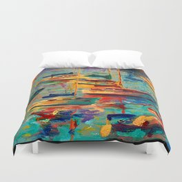 Morning Sailboats Duvet Cover