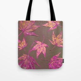 Japanese maple leaves - neon pink on khaki Tote Bag