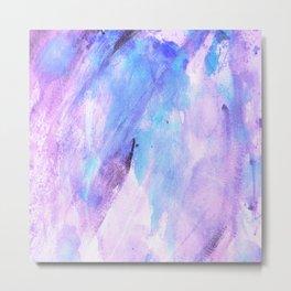 Pastel pink lilac teal modern watercolor brushstrokes Metal Print
