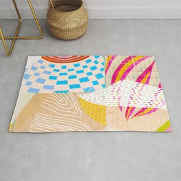 circus, abstract collage Rug
