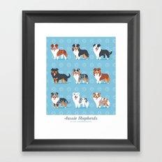 Aussie Shepherds Framed Art Print