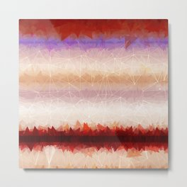 Abstract Rust Taupe Stripe Pattern Metal Print