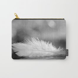White Feather In Black And White Bokeh Background #decor #society6 #buyart Carry-All Pouch
