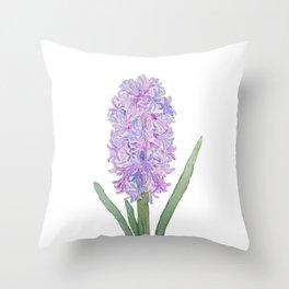 purple pink hyacinth watercolor Throw Pillow