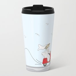 Wedding illustration - bride and groom on a red scooter Travel Mug