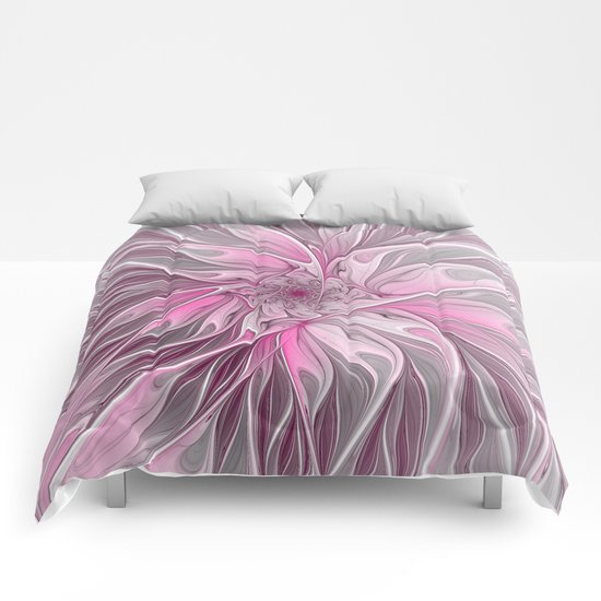 Abstract Pink Floral Dream Comforters