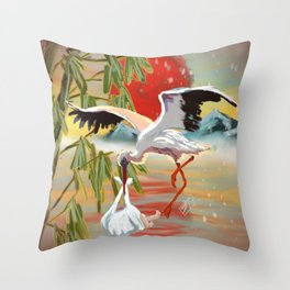 Stork and Baby Throw Pillow
