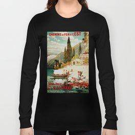 Switzerland and Italy Via St. Gotthard Travel Poster Long Sleeve T-shirt