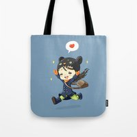 happiness Tote Bags featuring Happiness by Freeminds