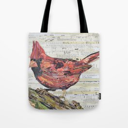 Cardinal / Red Bird Collage by C.E. White Tote Bag