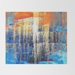 Golden Dawn, Abstract Landscape Art Throw Blanket