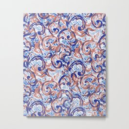 Vintage Lace Watercolor Blue Rust Metal Print