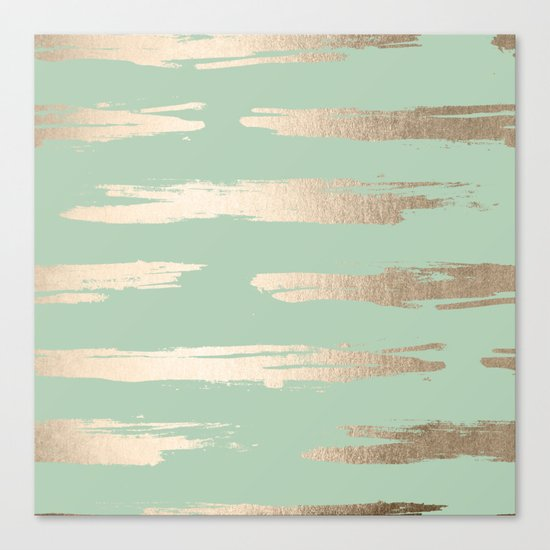 Simply Brushed Stripe White Gold Sands on Pastel Cactus Green Canvas Print