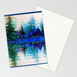 BLUE SCENIC MOUNTAIN PINES LAKE REFLECTION ART  PATTERNS Stationery Cards