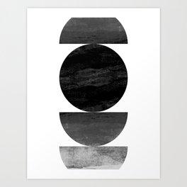 Mid Century Modern Black Ombre Geometric Abstract Art Print