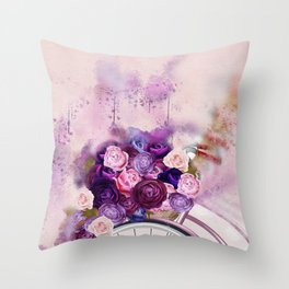 Vintag Bicycle and Flowers Throw Pillow