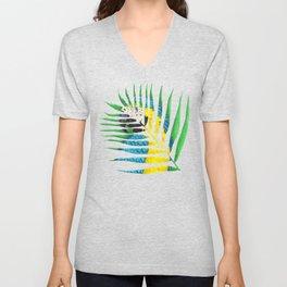 Parrot Palm Leaf Unisex V-Neck