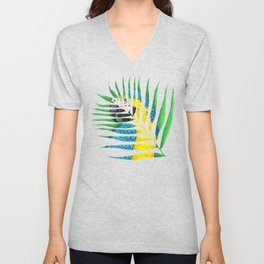 Parrot Palm Leaf Unisex V-Neck