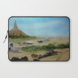 Passing Chimney Rock on the Dusty Oregon Trail Laptop Sleeve