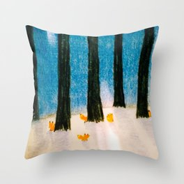 Foxs in the Forest Throw Pillow