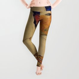 SELF PORTRAIT WITH HANDS ON CHEST - EGON SCHIELE Leggings