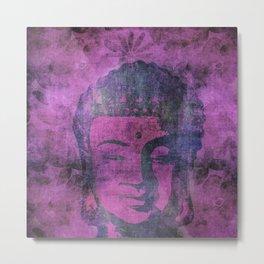 Watercolor Buddha Head Illustration Metal Print
