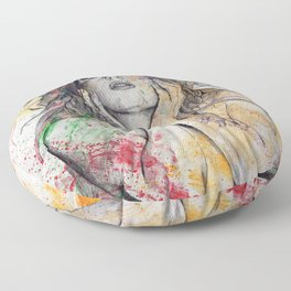 The Withering Spring (nude flower girl with magnolias) Floor Pillow