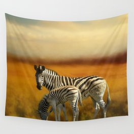 Zebra Family Wall Tapestry