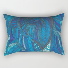 'He remembers' Ombre Blue Close-up Elephant Face Illustration with line work Rectangular Pillow