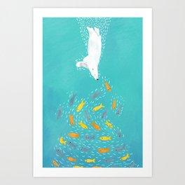 Polar Bear Diving Art Print
