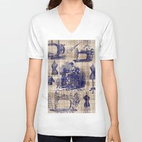 sewing V-neck T-shirts featuring Vintage Sewing Toile by Bonnie Phantasm