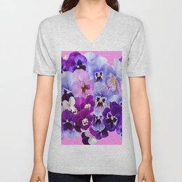 SPRING COLLECTION PURPLE-PINK PANSIES Unisex V-Neck