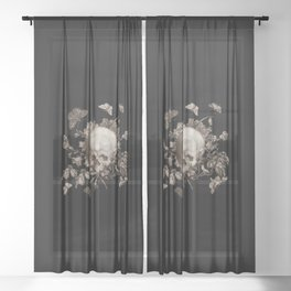 BLACK GOTHIC FLORAL SKULL Illustration Sheer Curtain