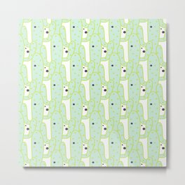 Cute green black hand drawn tropical cactus polka dots Metal Print