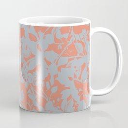 Floral Silhouette Pattern - Broken but Flourishing in Coral Coffee Mug