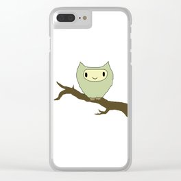 owl on a perch Clear iPhone Case