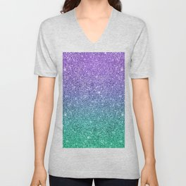 Sparkling faux glitter ombre purple to green Unisex V-Neck