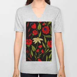 Floral embroidery Unisex V-Neck