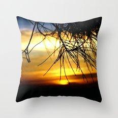 Sunset between Norfolk pine Needles Throw Pillow