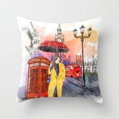 Meet Me in London Throw Pillow