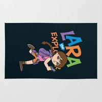 lara croft Area & Throw Rugs featuring Lara the Explorer by Gimetzco's Damaged Goods