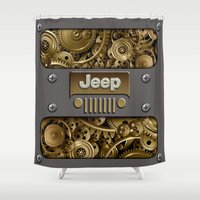 jeep Shower Curtains featuring Steampunk Jeep with Gear machines iPhone 4 4s 5 5c 6, pillow case, mugs and tshirt by Greenlight8