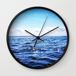 Deep Blue Seaside Wall Clock