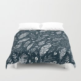 Feathers And Leaves Abstract Pattern Black And White Duvet Cover