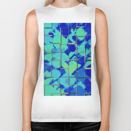 Abstract Squares Blue & Green Biker Tank