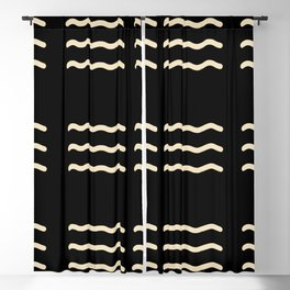 WAVY LINES . BLACK AND IVORY Blackout Curtain