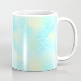 Mint Blue and Yellow Mermaid Tail Abstraction. Magic Fish Scale Pattern Coffee Mug